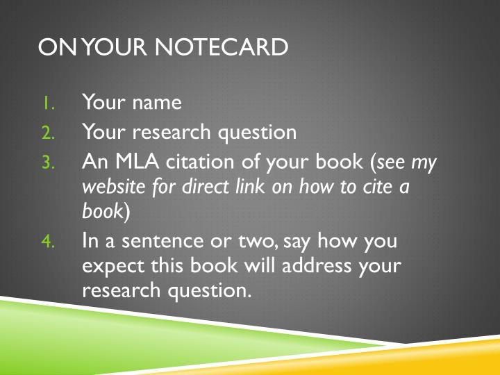 On your notecard
