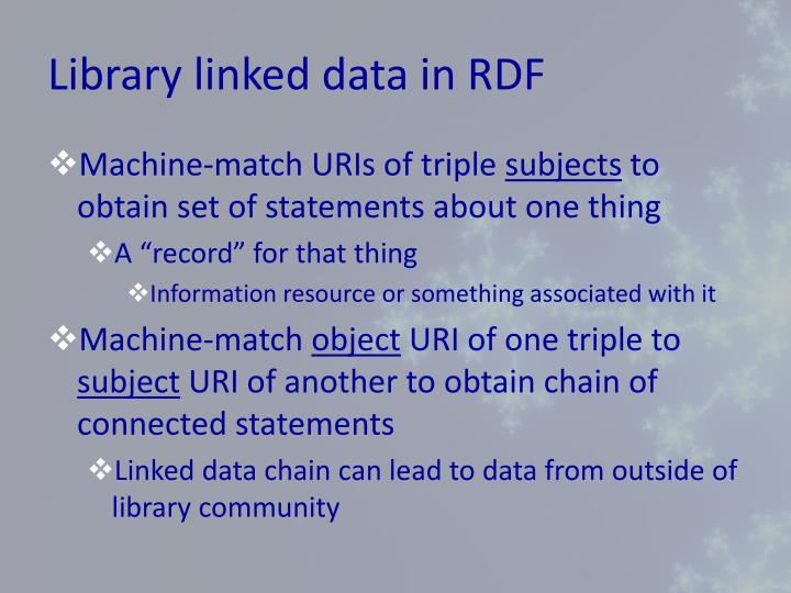 Library linked data in RDF