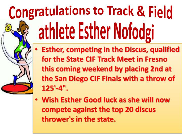 Congratulations to Track & Field