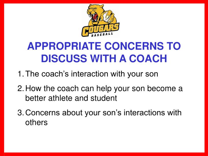 APPROPRIATE CONCERNS TO DISCUSS WITH A COACH