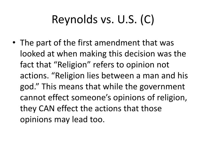 Reynolds vs. U.S. (C)