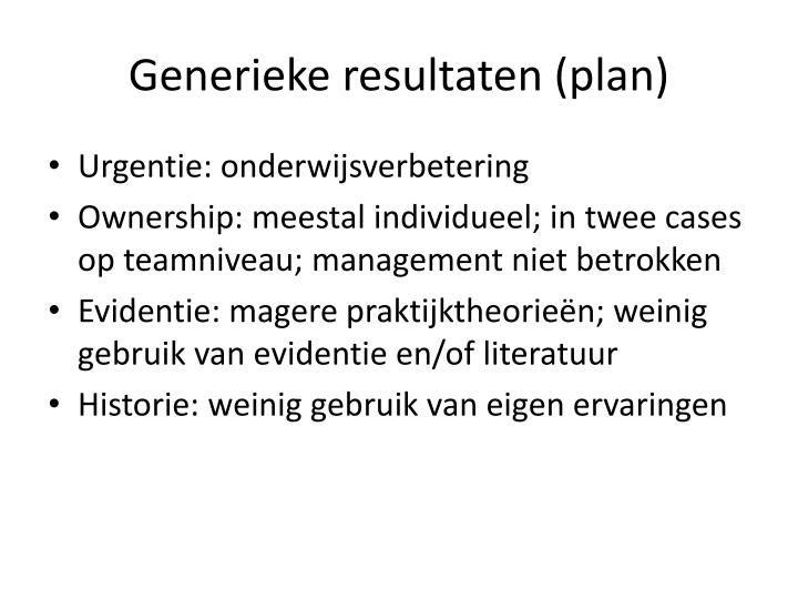 Generieke resultaten (plan)
