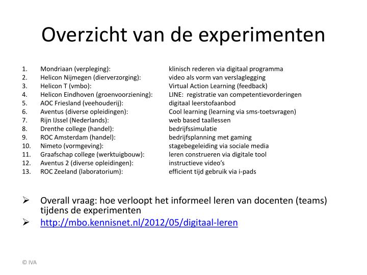 Overzicht van de experimenten