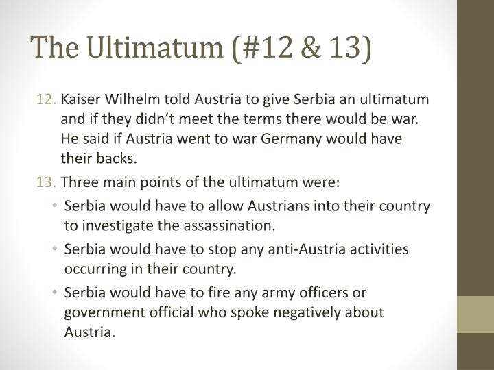 The Ultimatum (#12 & 13)