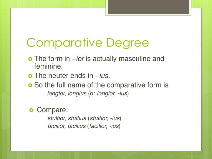 Comparative Degree