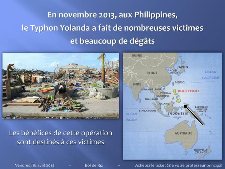 En novembre 2013, aux Philippines,