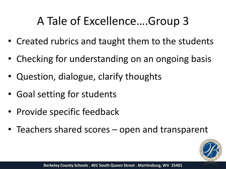 A Tale of Excellence….Group 3
