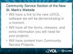 community service section of the new st mark s website