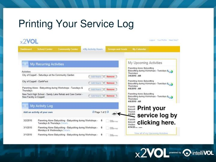 Printing Your Service Log
