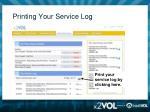 printing your service log