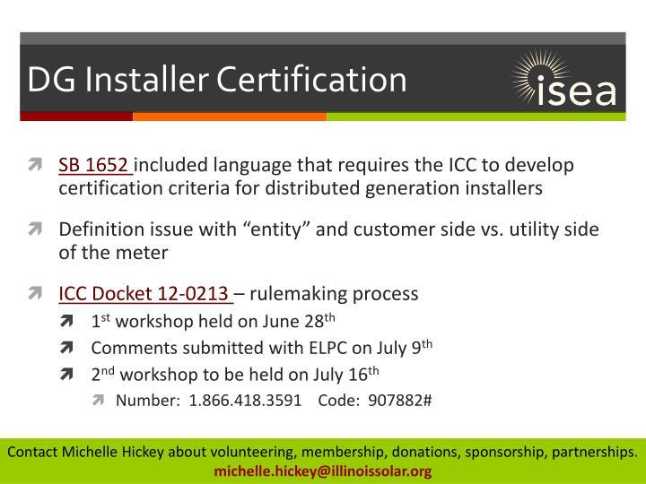 DG Installer Certification
