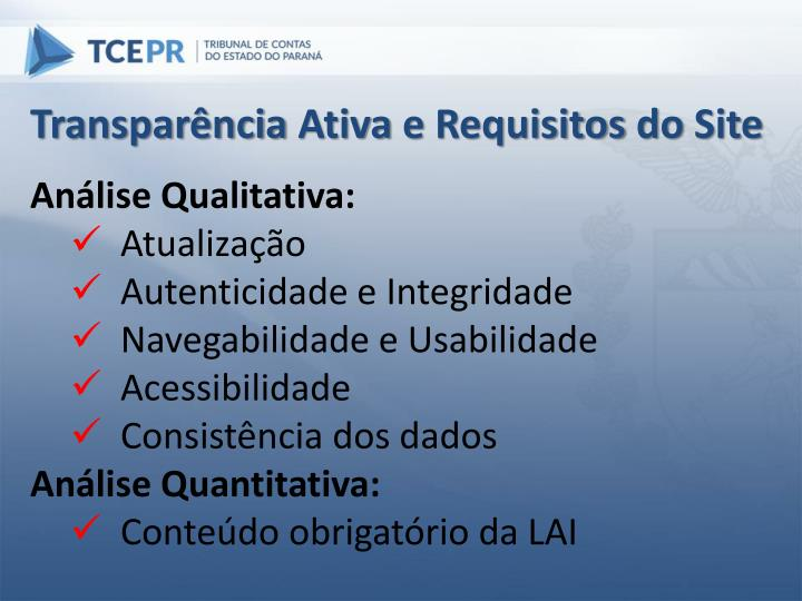 Transparência Ativa e Requisitos do Site