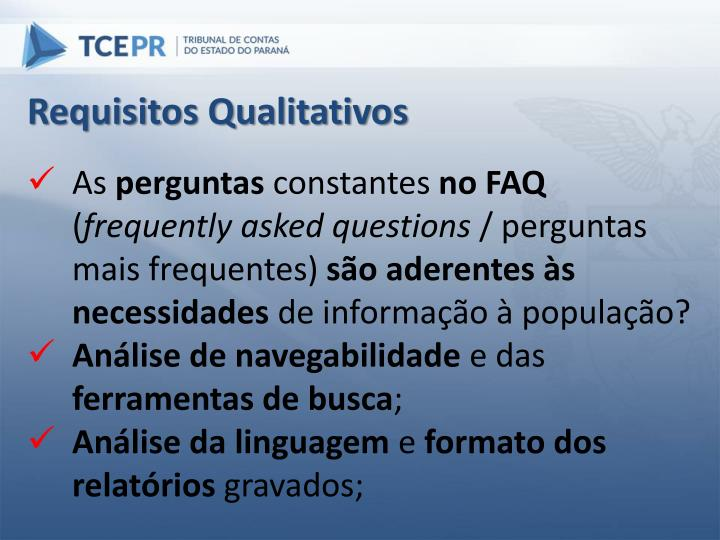 Requisitos Qualitativos