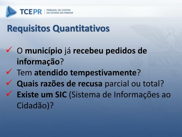 Requisitos Quantitativos