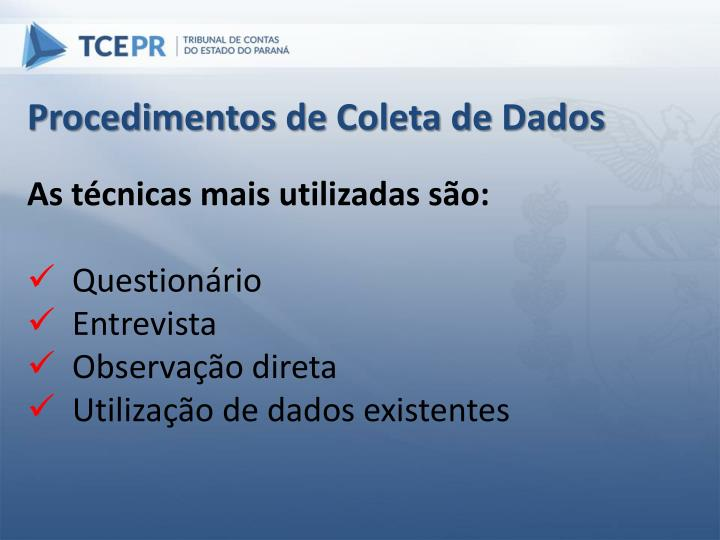 Procedimentos de Coleta de Dados