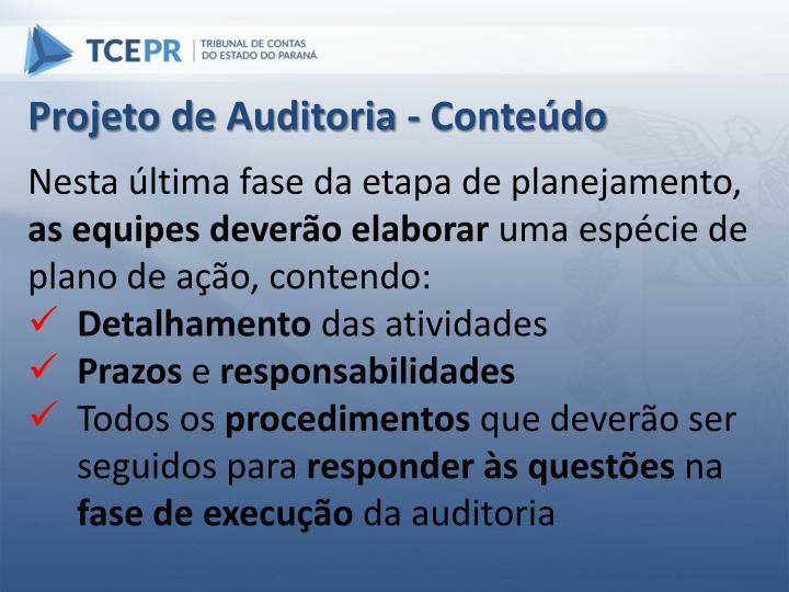 Projeto de Auditoria - Conteúdo