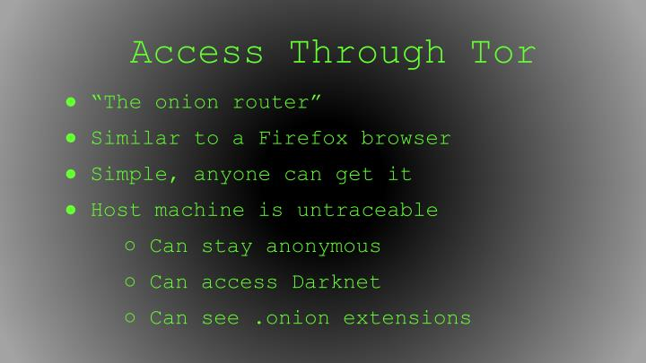 Access Through Tor