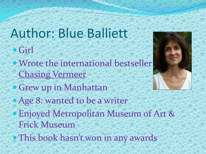 Author blue balliett