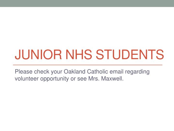JUNIOR NHS students