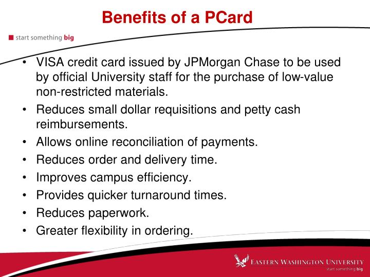 Benefits of a PCard