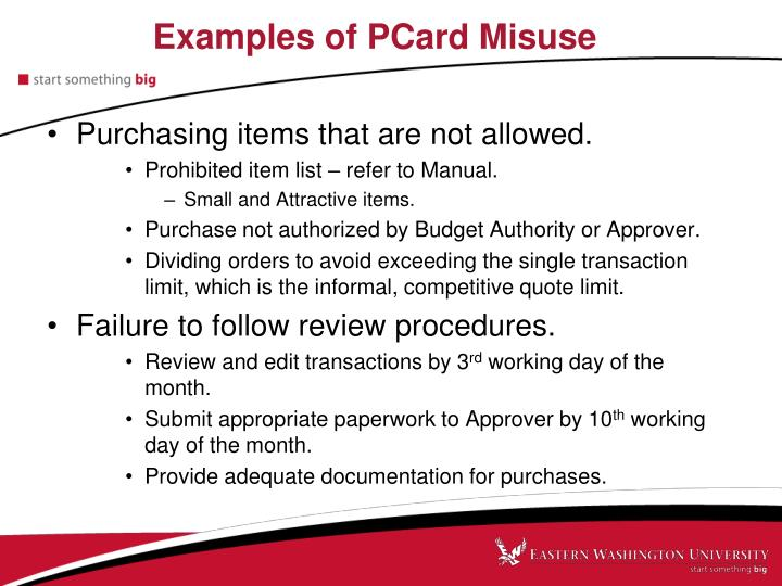 Examples of PCard Misuse