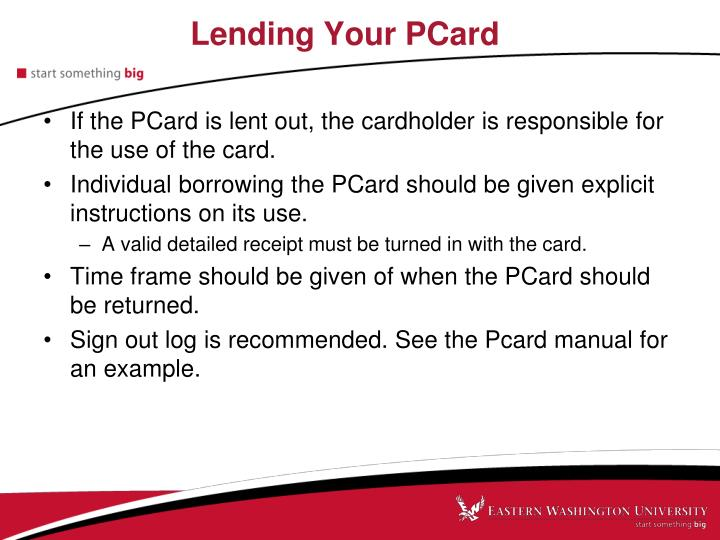 Lending Your PCard