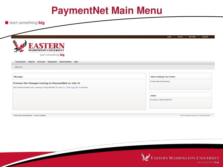 PaymentNet Main Menu