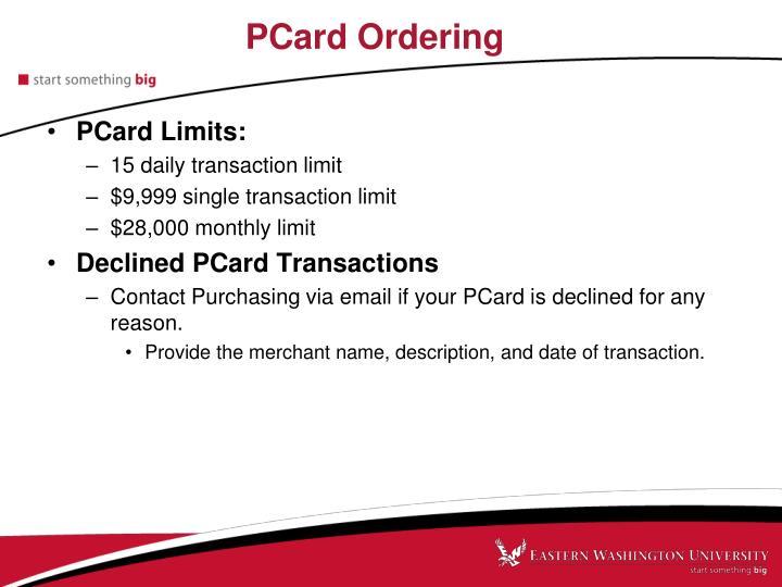 PCard Ordering