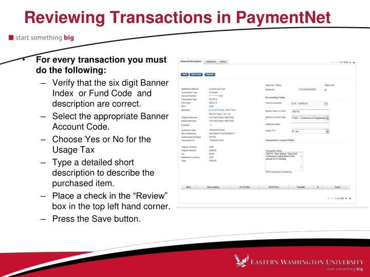 Reviewing Transactions in PaymentNet