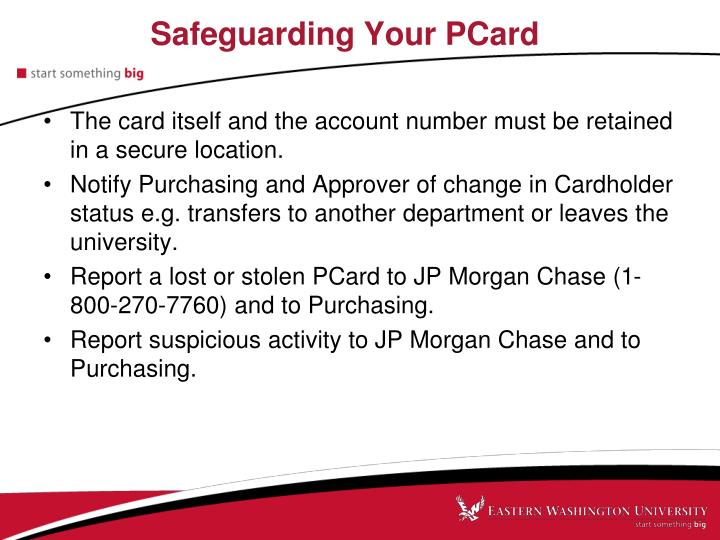Safeguarding Your PCard