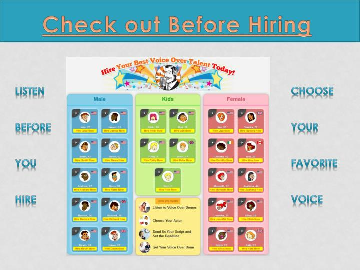 Check out Before Hiring