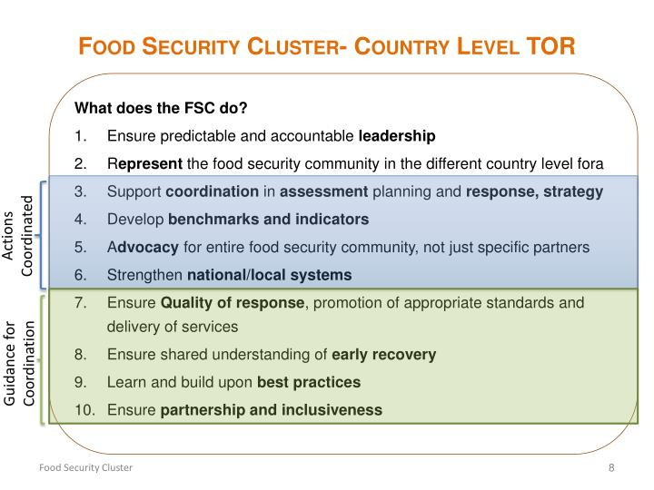 Food Security Cluster- Country Level TOR
