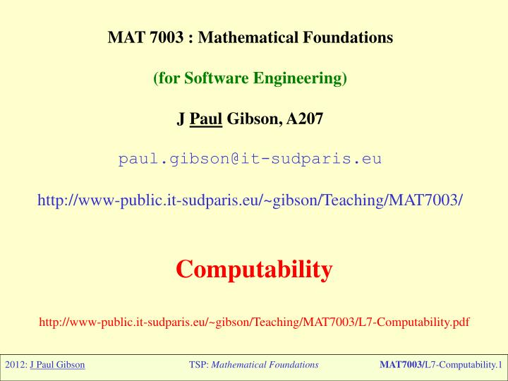 MAT 7003 : Mathematical Foundations