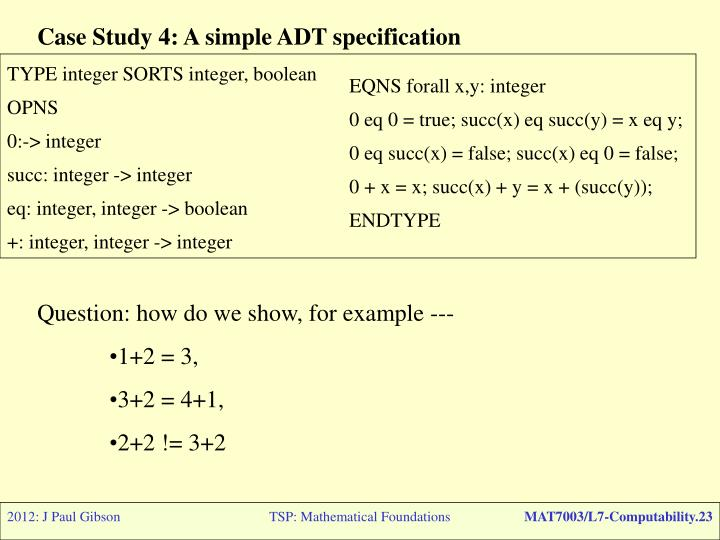 Case Study 4: A simple ADT specification