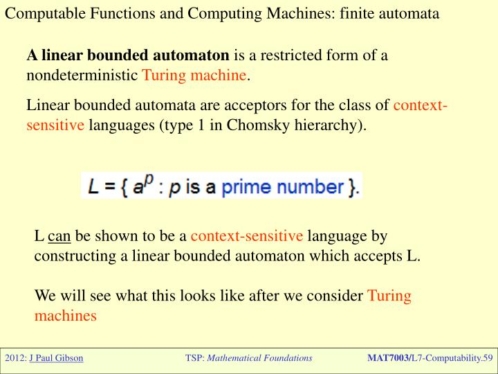 Computable Functions and Computing Machines: finite automata