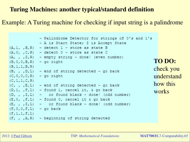 Turing Machines: another typical/standard definition