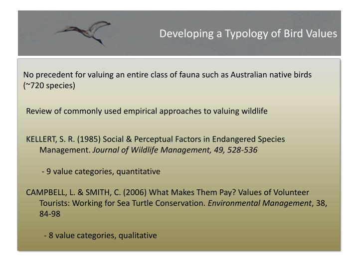 Developing a Typology of Bird Values