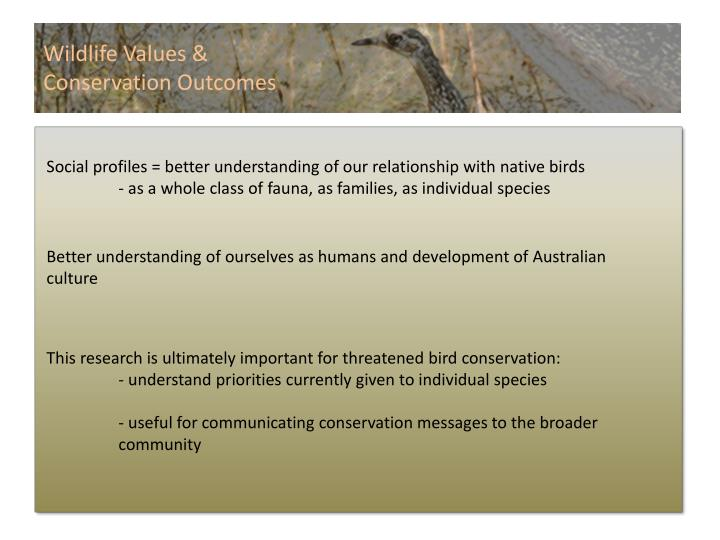 Wildlife Values &