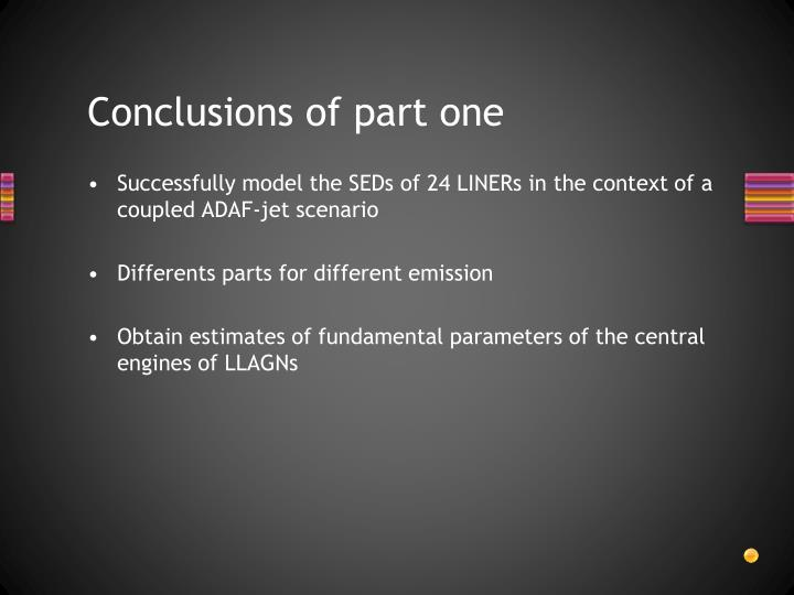 Conclusions of part one