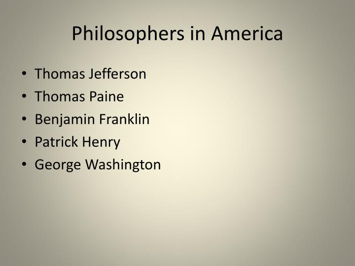 Philosophers in America
