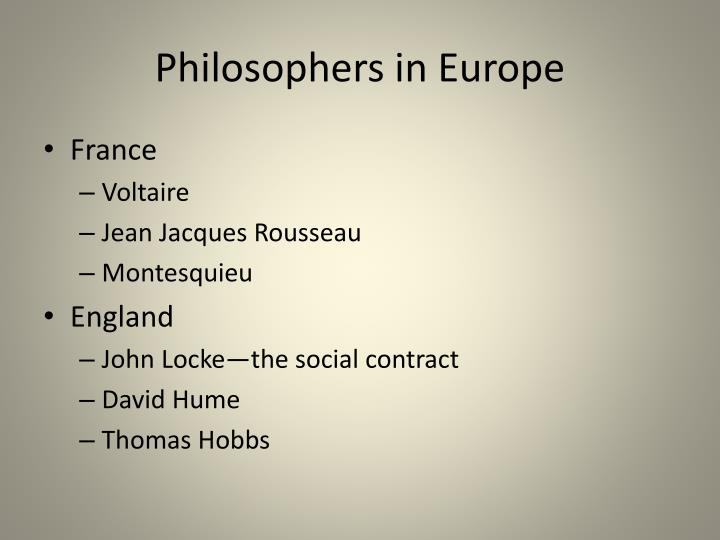 Philosophers in Europe