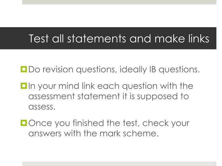 Test all statements and make links