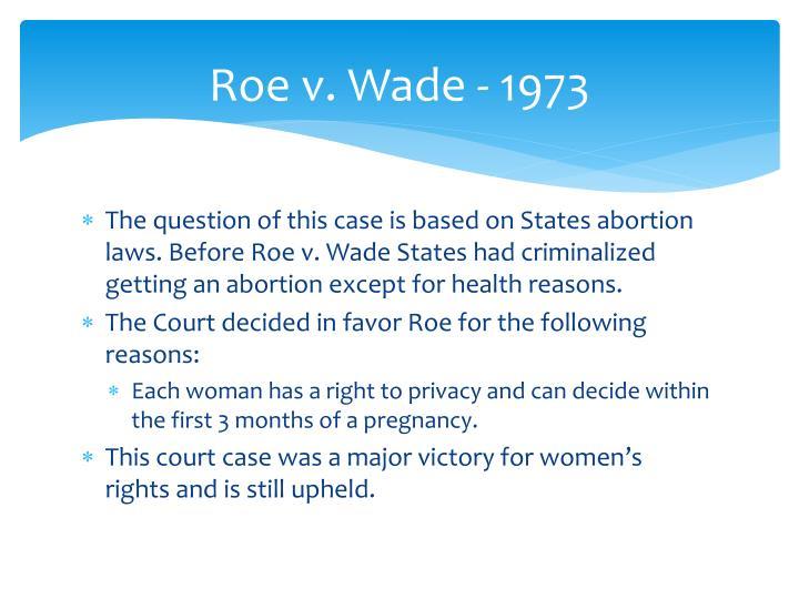 Roe v. Wade - 1973