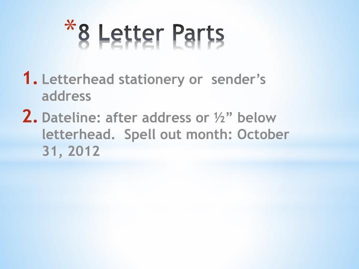 8 Letter Parts