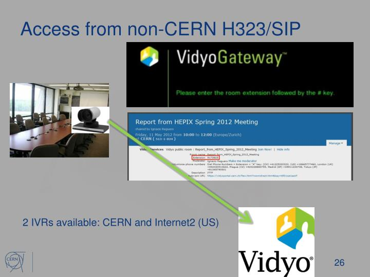 Access from non-CERN H323/SIP