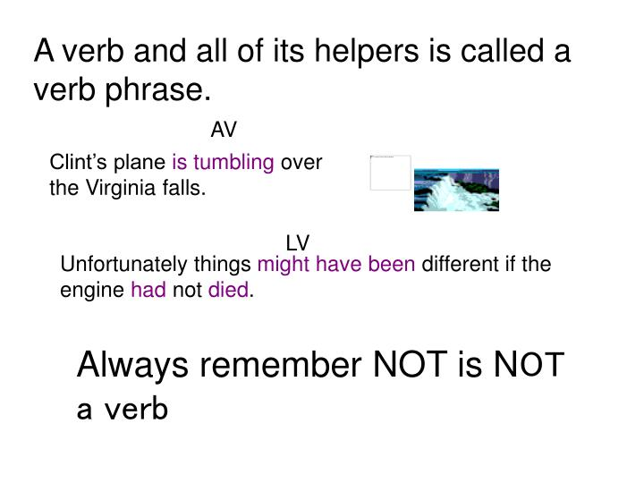 A verb and all of its helpers is called a verb phrase.