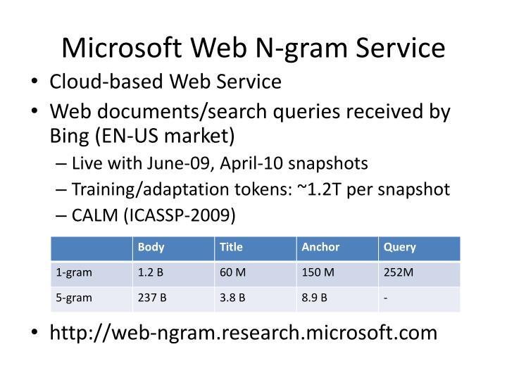 Microsoft Web N-gram Service