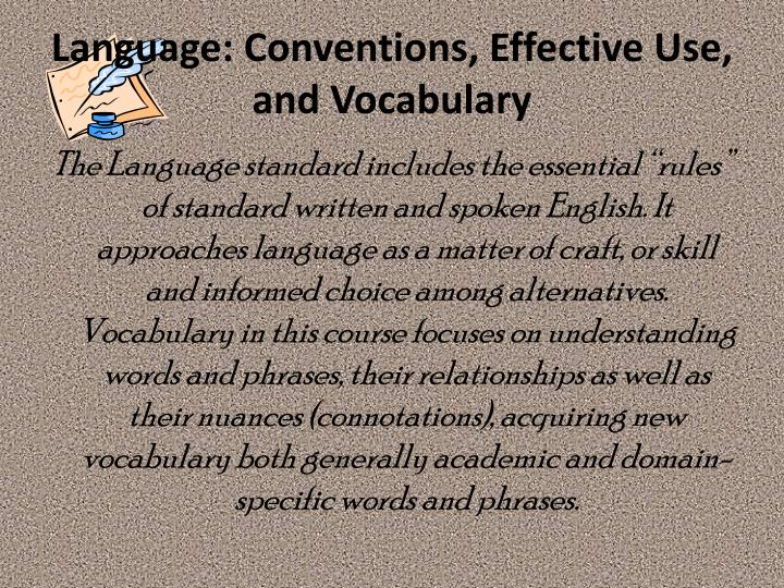 Language: Conventions, Effective Use, and Vocabulary