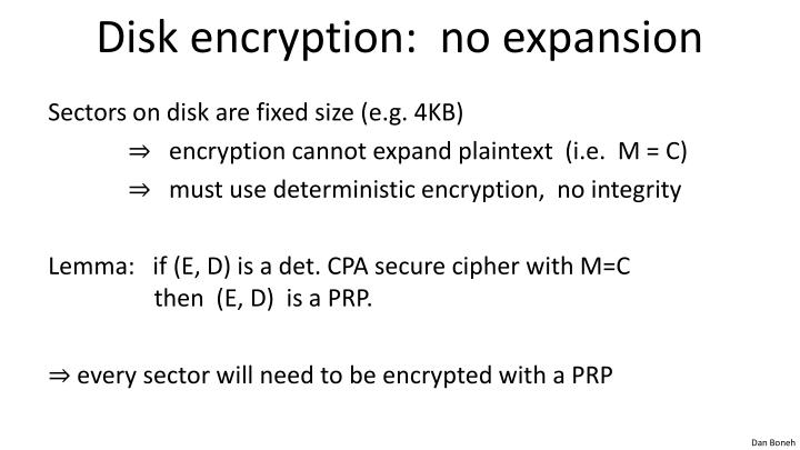 Disk encryption no expansion