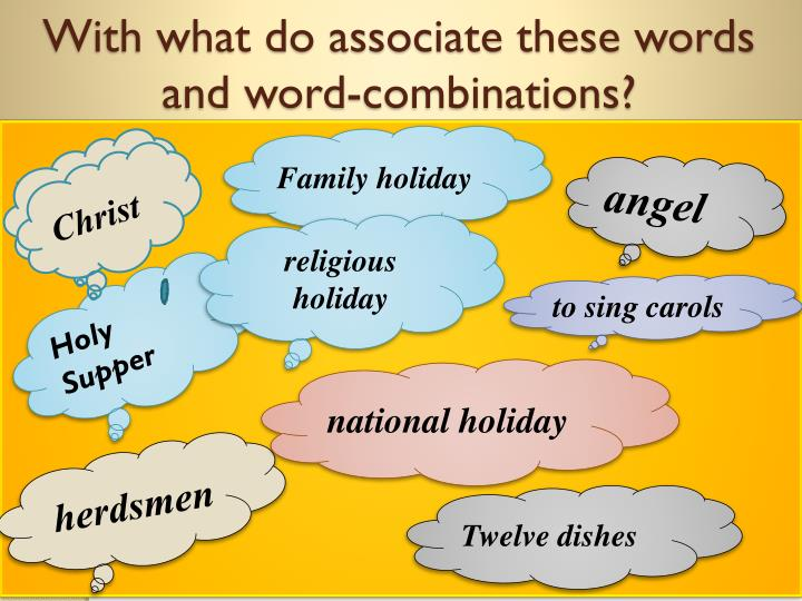 With what do associate these words and word-combinations?